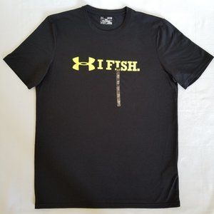 """NWT Under Armour """"I FISH"""" Athletic Shirt Size M"""